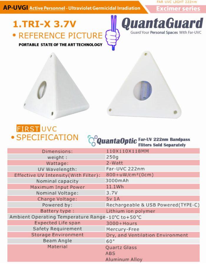 QuantaGuard Excimer Far-UVC 222nm Peak Wavelength Portable Personal Space