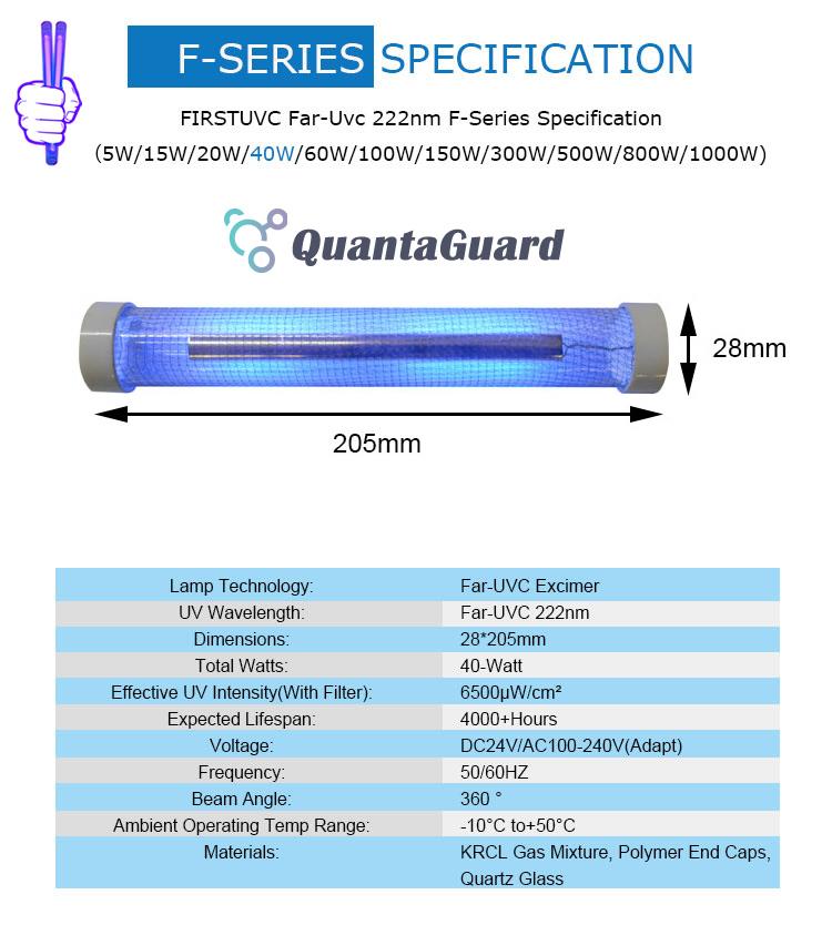 Far-uvc-Quantalamp-specs-F-Series-FirstUVC-dc24V-ac-50-60hz--Far-UV-222nm-40-watt-Excimer-far-uvc-222nm-40-watt-Lamp-f28-F28-40W-DC24V-dc-110-240v-