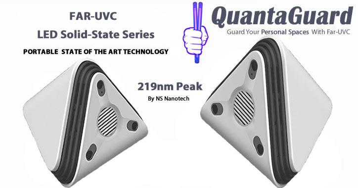 QuantaGuard Solid-State Nano LED Far-UVC 219nm Peak Wavelength Portable Personal Space
